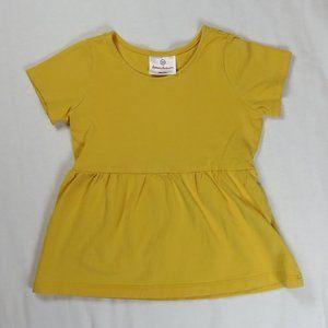Hanna Andersson 100 4T 4 Peplum Top Shirt Yellow